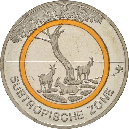 Vorderseite:Deutschland : 5 Euro Subtropische Zone Buchstabe unserer Wahl  2018 bfr