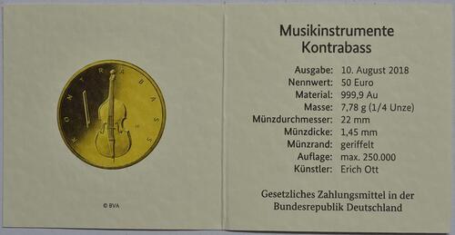 Zertifikat:Deutschland : 50 Euro Kontrabass Komplettsatz ADFGJ 5 Münzen  2018 Stgl.