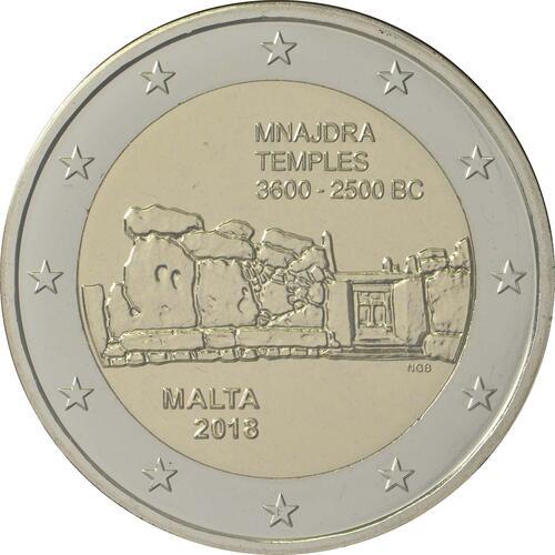 Rückseite:Malta : 5,88 Euro KMS Malta mit 2 Euro Gedenkmünze Mnajdra  2018 Stgl.