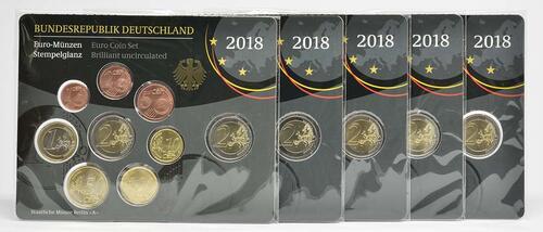 Lieferumfang :Deutschland : 29,4 Euro KMS Deutschland mit zusätzlicher Gedenkmünze komplett A-J  2018 Stgl.