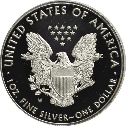 Rückseite:USA : 1 Dollar Silber Eagle  2018 PP