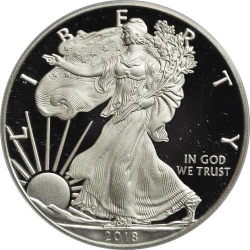 Vorderseite:USA : 1 Dollar Silber Eagle  2018 PP