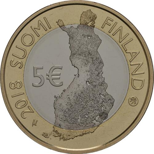 Rückseite:Finnland : 5 Euro Punkaharju-Grat  2018 PP