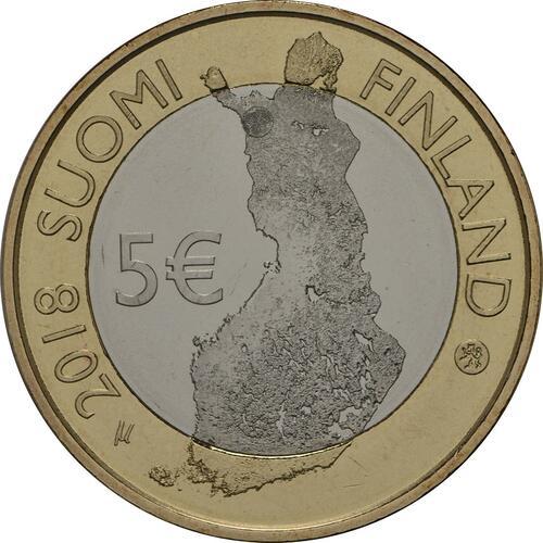 Rückseite:Finnland : 5 Euro Pallastunturi Fels  2018 bfr