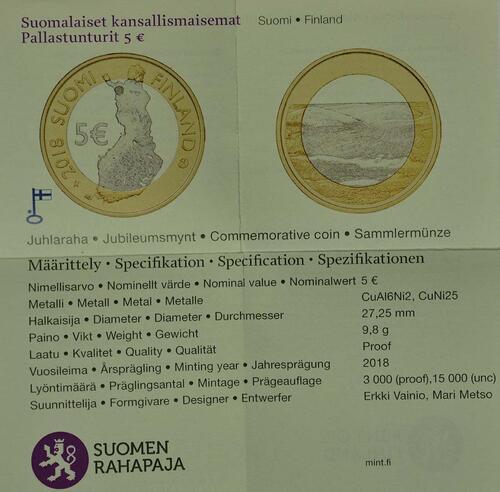 Zertifikat:Finnland : 5 Euro Pallastunturi Fels  2018 PP