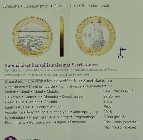 Zertifikat:Finnland : 5 Euro Schärenmeer  2018 PP