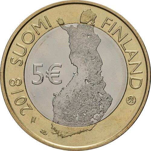Rückseite:Finnland : 5 Euro Tammerkoski-Stromschnellen  2018 bfr