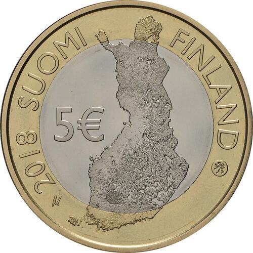 Rückseite:Finnland : 5 Euro Tammerkoski-Stromschnellen  2018 PP