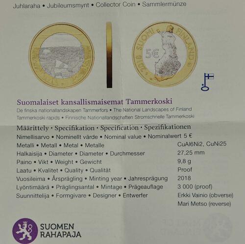 Zertifikat:Finnland : 5 Euro Tammerkoski-Stromschnellen  2018 PP