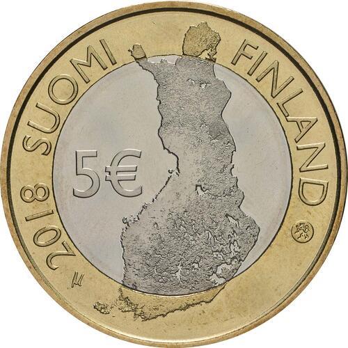 Rückseite:Finnland : 5 Euro Fluss Oulankajoki  2018 bfr