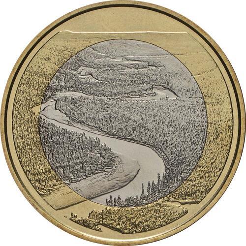 Vorderseite:Finnland : 5 Euro Fluss Oulankajoki  2018 bfr