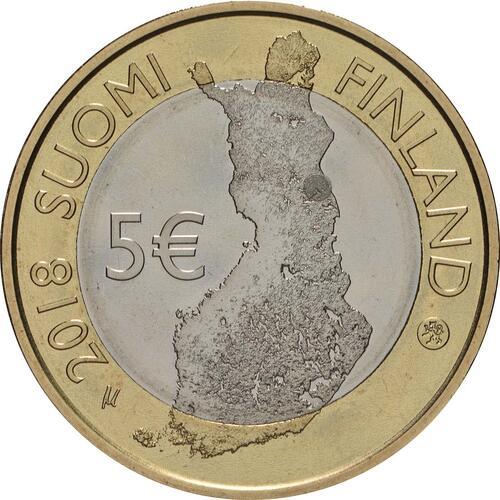 Rückseite:Finnland : 5 Euro Fluss Oulankajoki  2018 PP