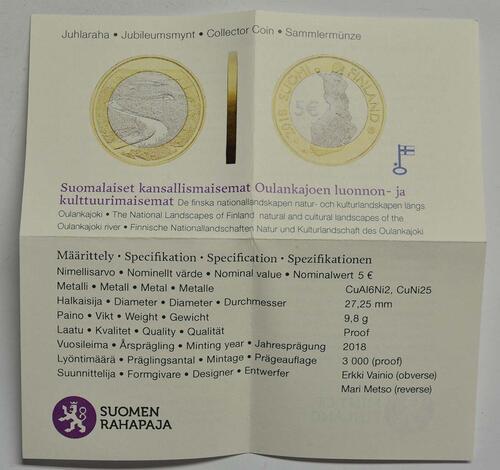 Zertifikat:Finnland : 5 Euro Fluss Oulankajoki  2018 PP