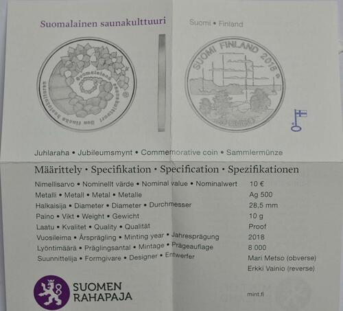Zertifikat:Finnland : 10 Euro finnische Saunakultur  2018 PP