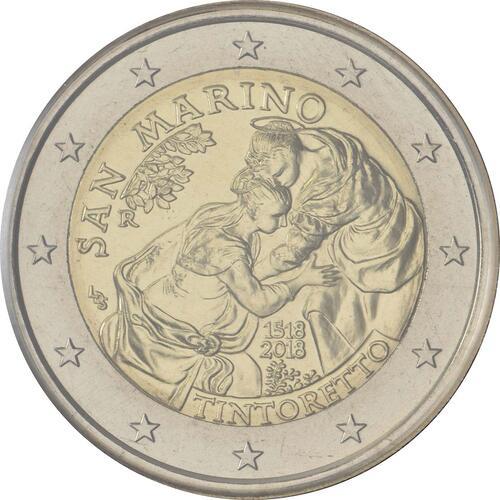 Rückseite:San Marino : 2 Euro 500. Jahrestag der Geburt von Tintoretto  2018 Stgl.