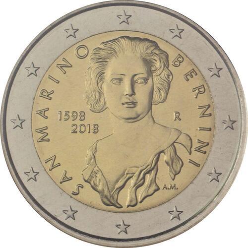 Rückseite:San Marino : 2 Euro 420. Jahrestag der Geburt von Gian Lorenzo Bernini  2018 Stgl.