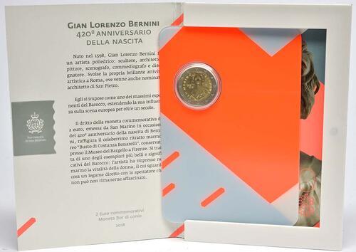 Lieferumfang:San Marino : 2 Euro 420. Jahrestag der Geburt von Gian Lorenzo Bernini  2018 Stgl.