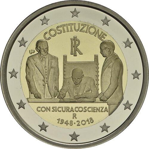 Rückseite:Italien : 2 Euro 70 Jahre Verfassung Italiens  2018 PP