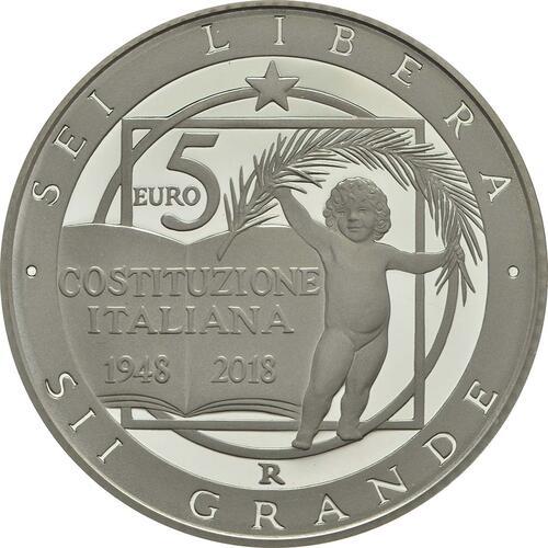 Rückseite :Italien : 5 Euro 70 Jahre Verfassung Italiens - farbig  2018 PP