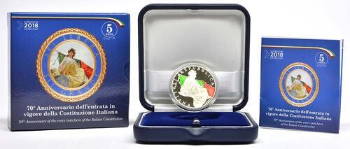Lieferumfang :Italien : 5 Euro 70 Jahre Verfassung Italiens - farbig  2018 PP