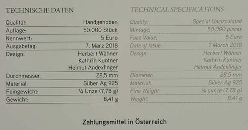 Zertifikat:Österreich : 5 Euro Osterhase  2018 Stgl.
