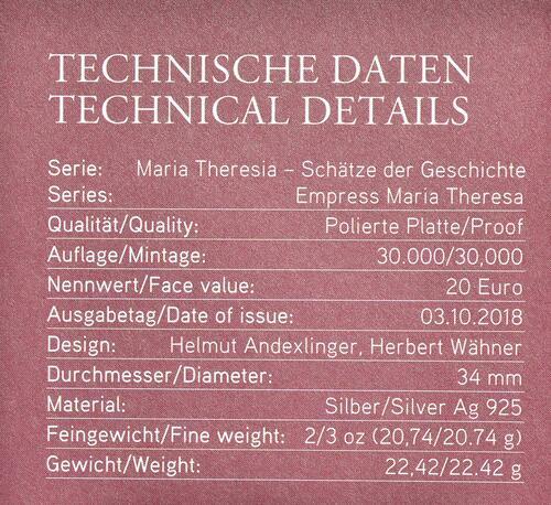 Zertifikat:Österreich : 20 Euro Weisheit und Reformen  2018 PP