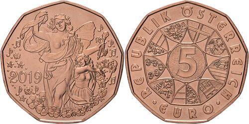 Lieferumfang:Österreich : 5 Euro Neujahrsmünze - Lebensfreude  2019 bfr