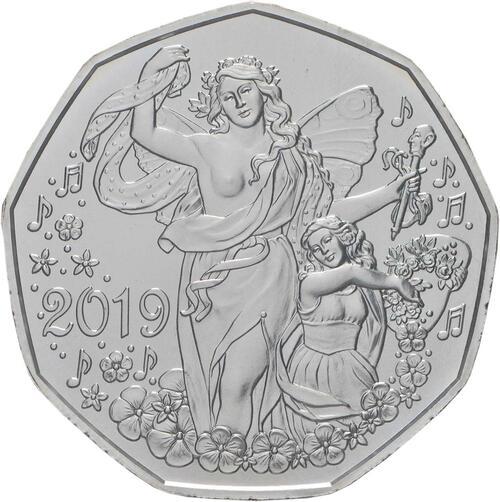 Vorderseite:Österreich : 5 Euro Neujahrsmünze - Lebensfreude  2019 Stgl.