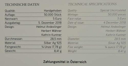 Zertifikat:Österreich : 5 Euro Neujahrsmünze - Lebensfreude  2019 Stgl.
