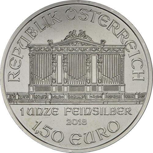 Rückseite:Österreich : 1,5 Euro Philharmoniker  2018 Stgl.