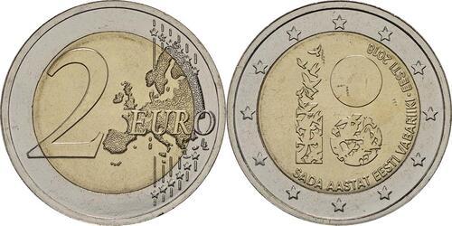 Lieferumfang :Estland : 2 Euro 100 Jahre Republik Estland  2018 bfr