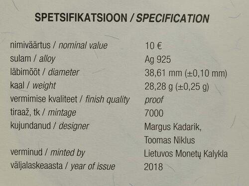 Zertifikat:Estland : 10 Euro 100 Jahre Republik Estland  2018 PP