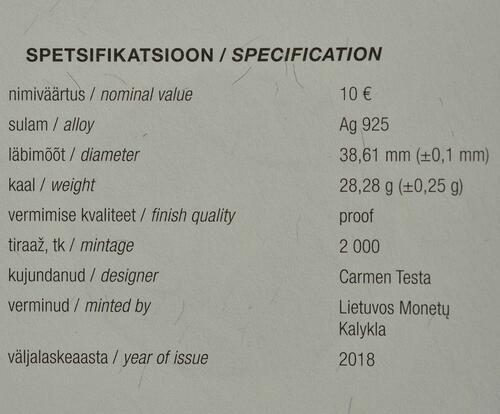 Zertifikat:Estland : 10 Euro Winterspiele  2018 PP