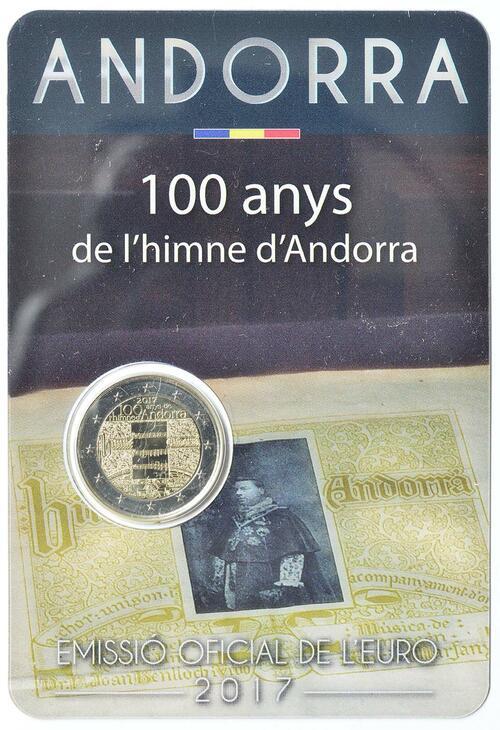 Lieferumfang:Andorra : 2 Euro 100 Jahre Hymne Andorras  2017 Stgl.