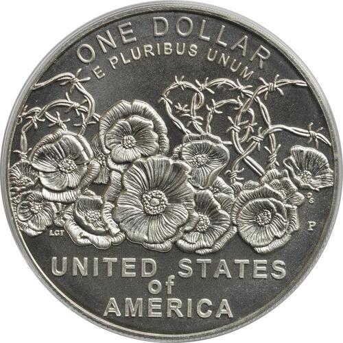 Rückseite :USA : 1 Dollar 100 Jahre Ende WW1  2018 Stgl.