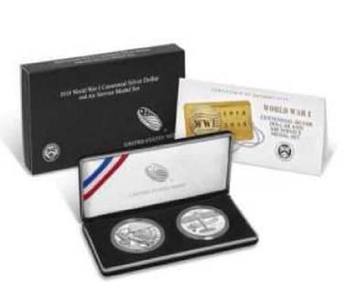 Lieferumfang:USA : 1 Dollar 100 Jahre Ende WW1 + Medaille Küstenwache  2018 PP