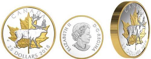 Lieferumfang:Kanada : 25 Dollar 2018 Zeitlose Ikonen - Maple Leaf u. Karibu - Piedfort  2018 PP