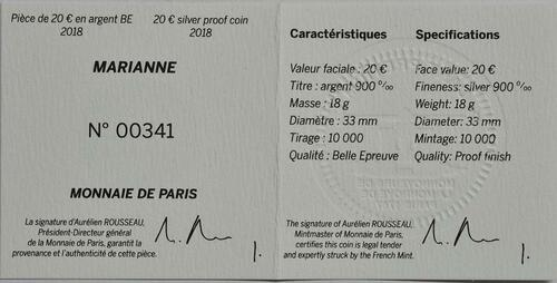 Zertifikat :Frankreich : 20 Euro Marianne  2018 PP