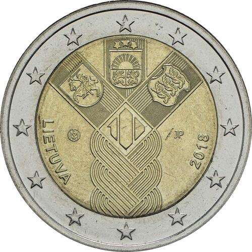 Rückseite:Litauen : 2 Euro 100 Jahre Unabhängigkeit  2018 bfr