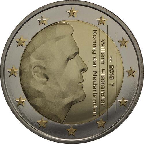 Rückseite:Niederlande : 5,88 Euro KMS Niederlande - 1 Cent - 2 Euro mit neuem Münzmeisterzeichen inkl. 2 Euro mit vergoldeten Europasternen  2018 PP