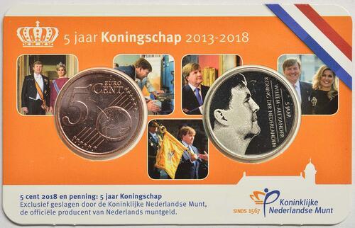 Rückseite :Niederlande : 5 Cent 5 Jahre König Wilhelm Alexander + Medaille  2018 bfr