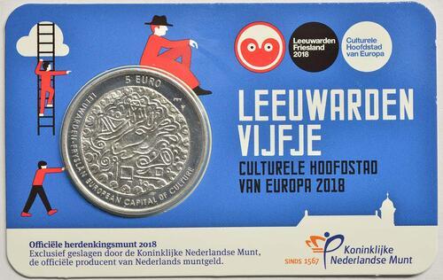 Lieferumfang :Niederlande : 5 Euro Leeuwarden Europäische Kulturhauptstsadt  2018 bfr