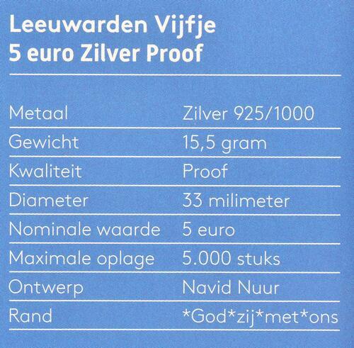 Zertifikat:Niederlande : 5 Euro Leeuwarden Europäische Kulturhauptstsadt  2018 PP