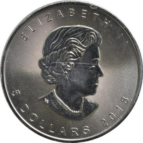 Rückseite:Kanada : 5 Dollar Maple Leaf - Nordlichter Alberta  2018 Stgl.