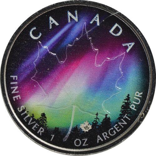 Vorderseite:Kanada : 5 Dollar Maple Leaf - Nordlichter Alberta  2018 Stgl.