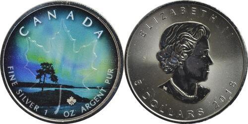 Lieferumfang :Kanada : 5 Dollar Maple Leaf - Nordlichter Quebec  2018 Stgl.