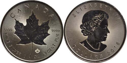 Lieferumfang :Kanada : 5 Dollar 30 Jahre Maple Leaf - Incuse - Tiefprägung  2018 Stgl.
