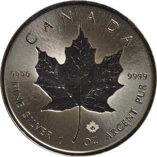 Vorderseite :Kanada : 5 Dollar 30 Jahre Maple Leaf - Incuse - Tiefprägung  2018 Stgl.
