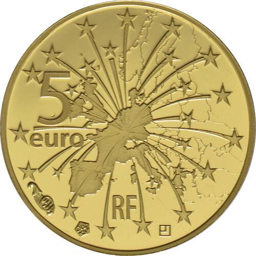 Rückseite :Frankreich : 5 Euro Vertrag von Maastricht  2018 PP
