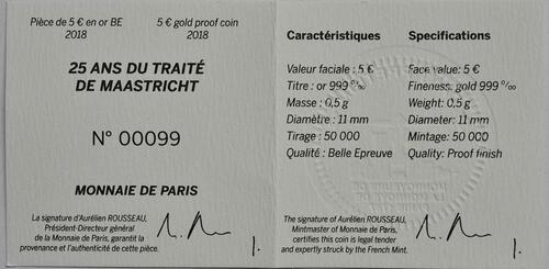 Zertifikat :Frankreich : 5 Euro Vertrag von Maastricht  2018 PP